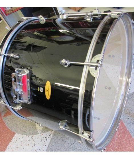 SOUNDSATION GRANCASSA PER BATTERIA 22X15 COMPLETA DI GAMBI E PELLI IN PIOPPO 9 STRATI FINITURA NERO diametro foro 22mm